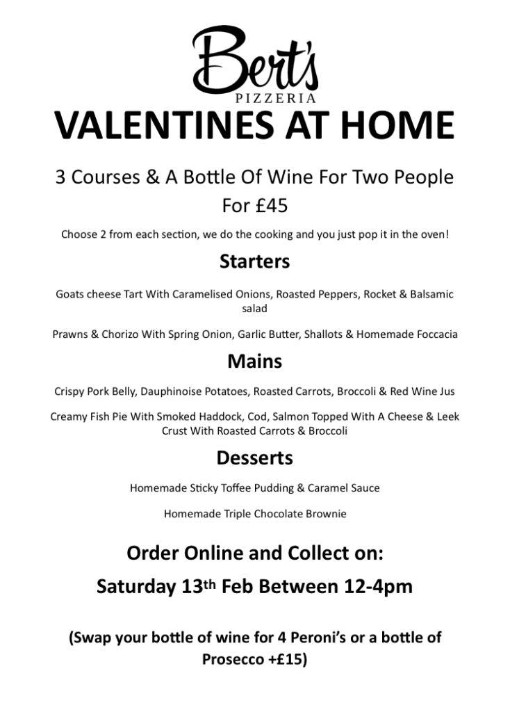 Bert's Pizzeria Valentine's Day takeaway menu