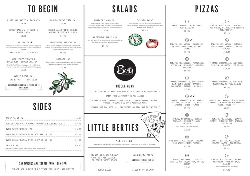 Berts Pizzeria hull menu