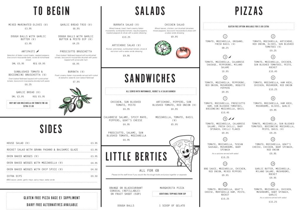 Berts Pizzeria Hull menu front