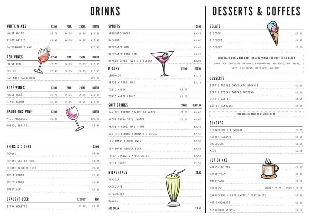 Berts Pizzeria Hull menu back